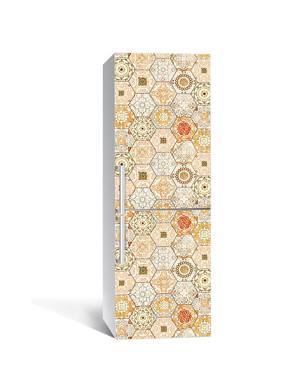 Наклейка на холодильник Zatarga «Охровая азулежу» 650х2000 мм виниловая 3Д наклейка декор на кухню