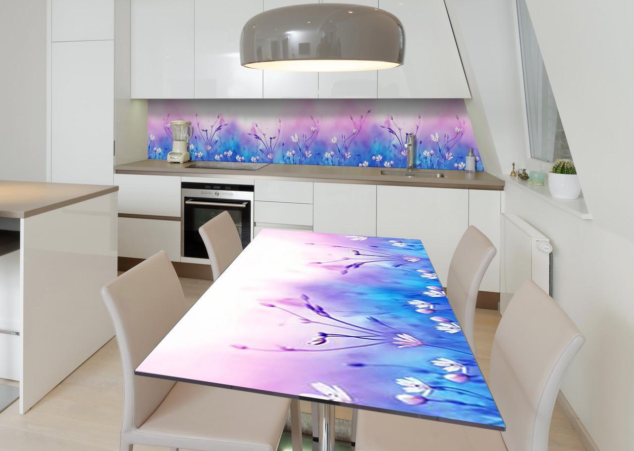 Наклейка 3Д вінілова на стіл Zatarga «Лавандові хмари» 600х1200 мм для будинків, квартир, столів, кофеєнь, кафе