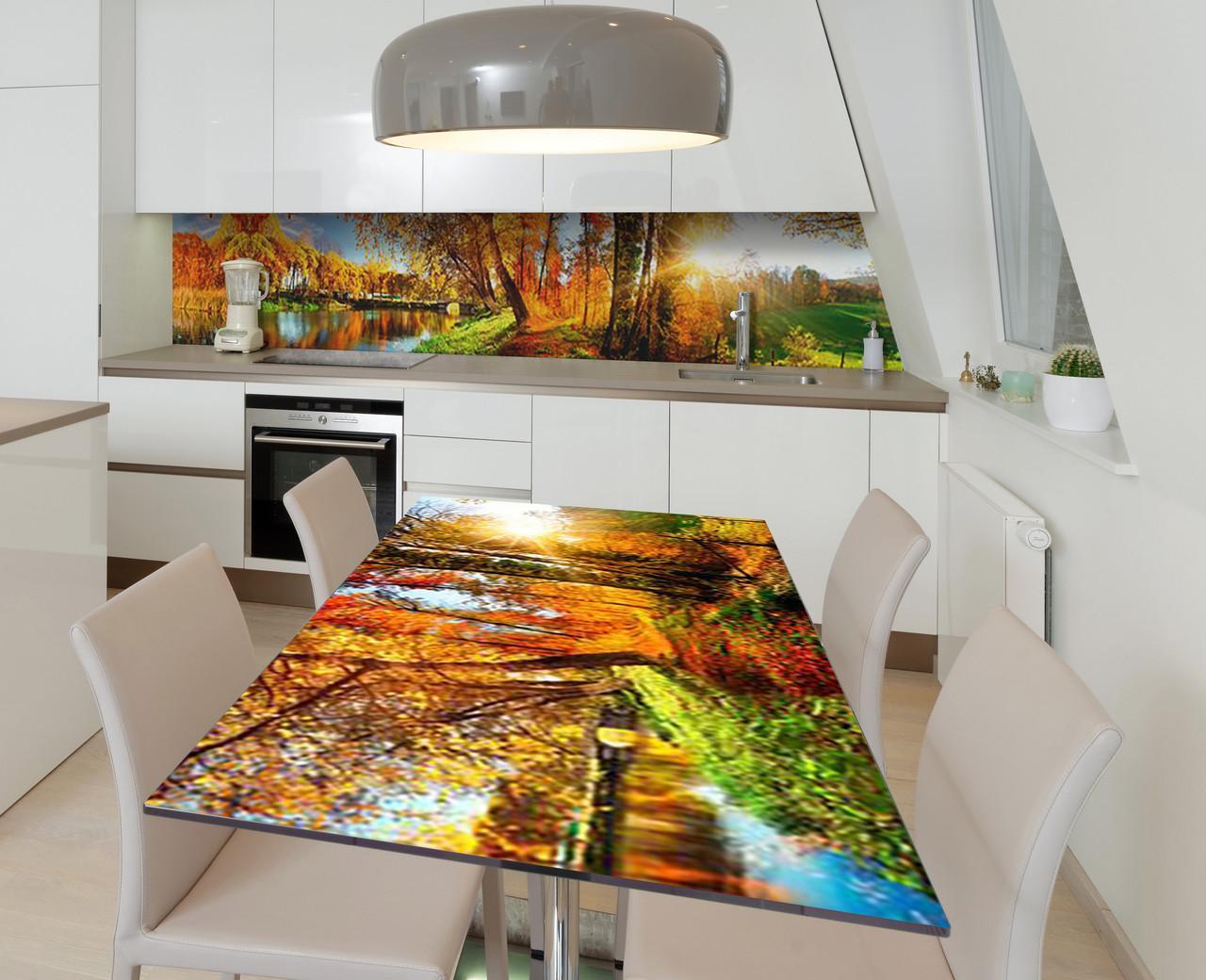 Наклейка 3Д виниловая на стол Zatarga «Слепящие лучи» 650х1200 мм для домов, квартир, столов, кофейн, кафе