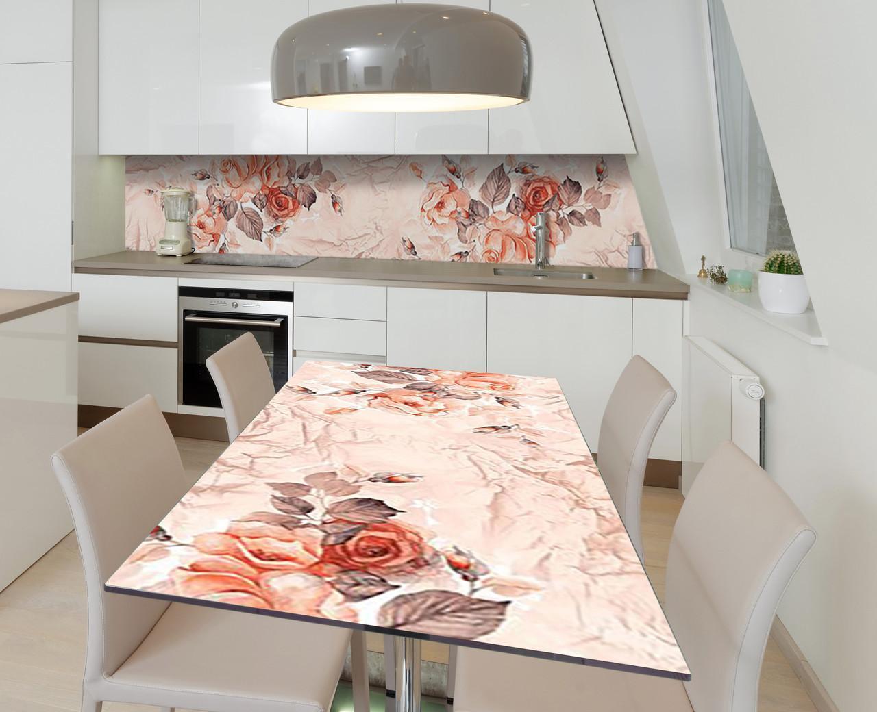 Наклейка 3Д вінілова на стіл Zatarga «Троянди на папері» 600х1200 мм для будинків, квартир, столів, кофеєнь, кафе