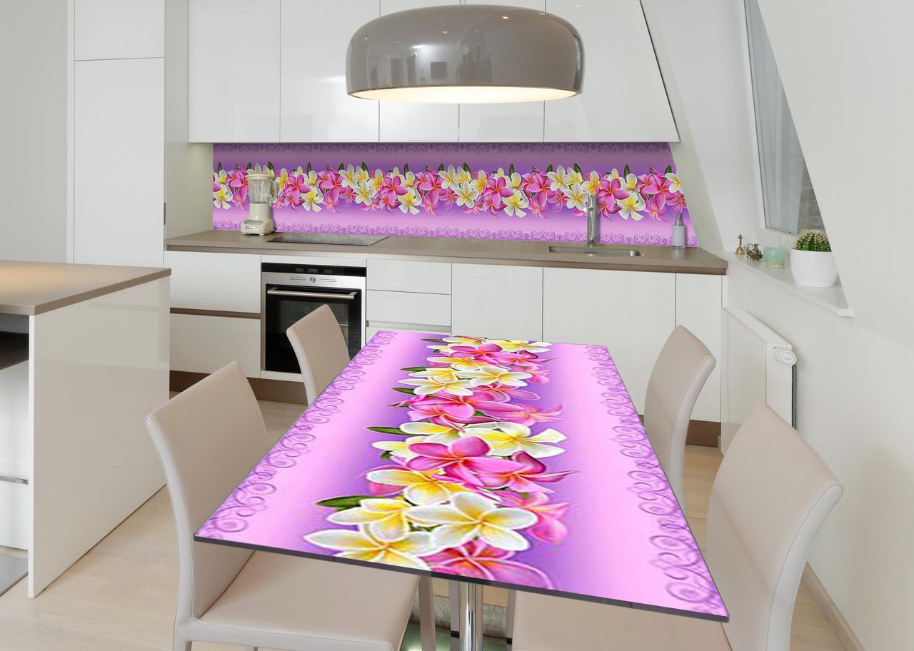 Наклейка 3Д вінілова на стіл Zatarga «Лілова скатертину» 650х1200 мм для будинків, квартир, столів, кофеєнь, кафе