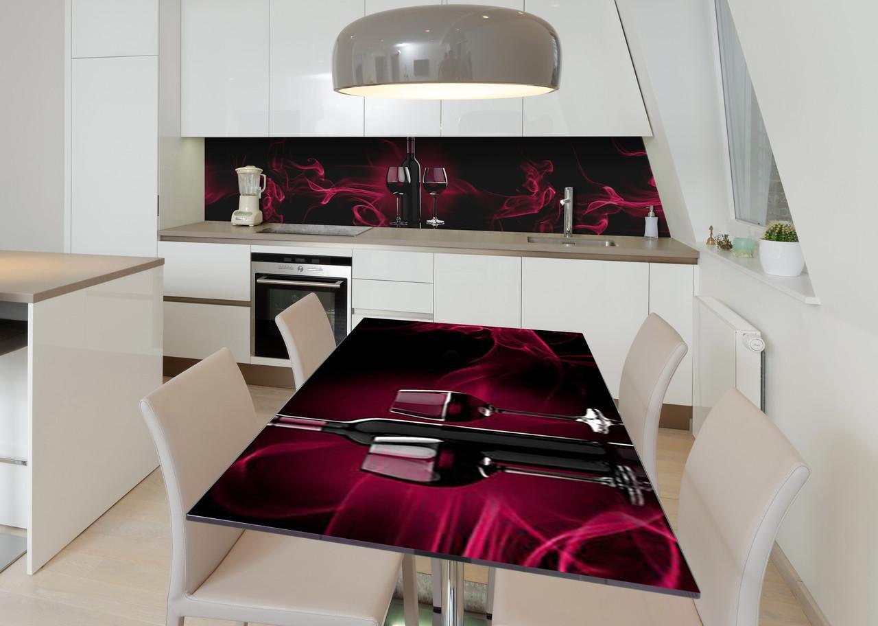 Наклейка 3Д виниловая на стол Zatarga «Дымящийся бокал» 600х1200 мм для домов, квартир, столов, кофейн, кафе