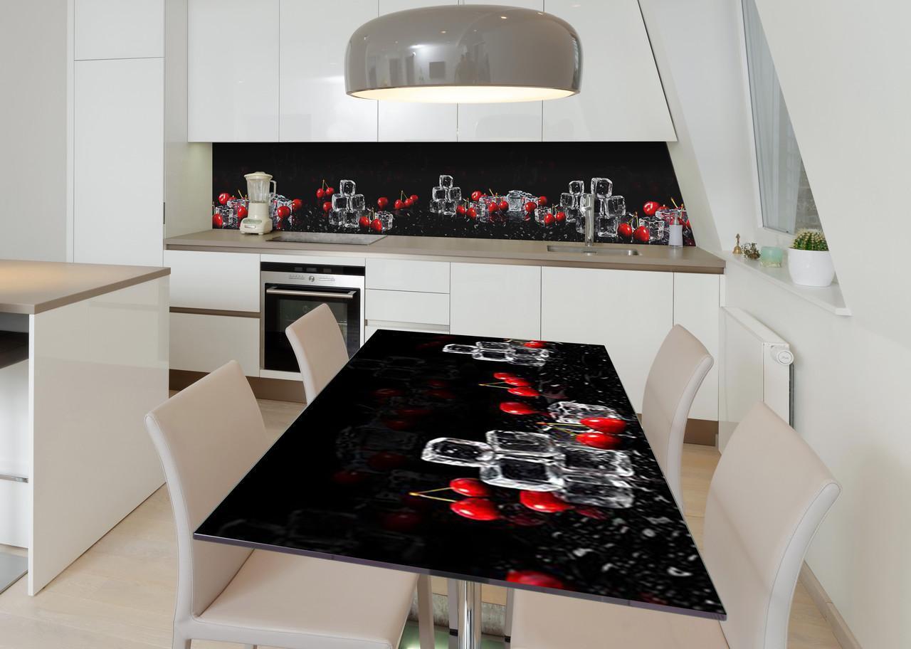 Наклейка 3Д виниловая на стол Zatarga «Охлаждённая вишня» 650х1200 мм для домов, квартир, столов, кофейн, кафе