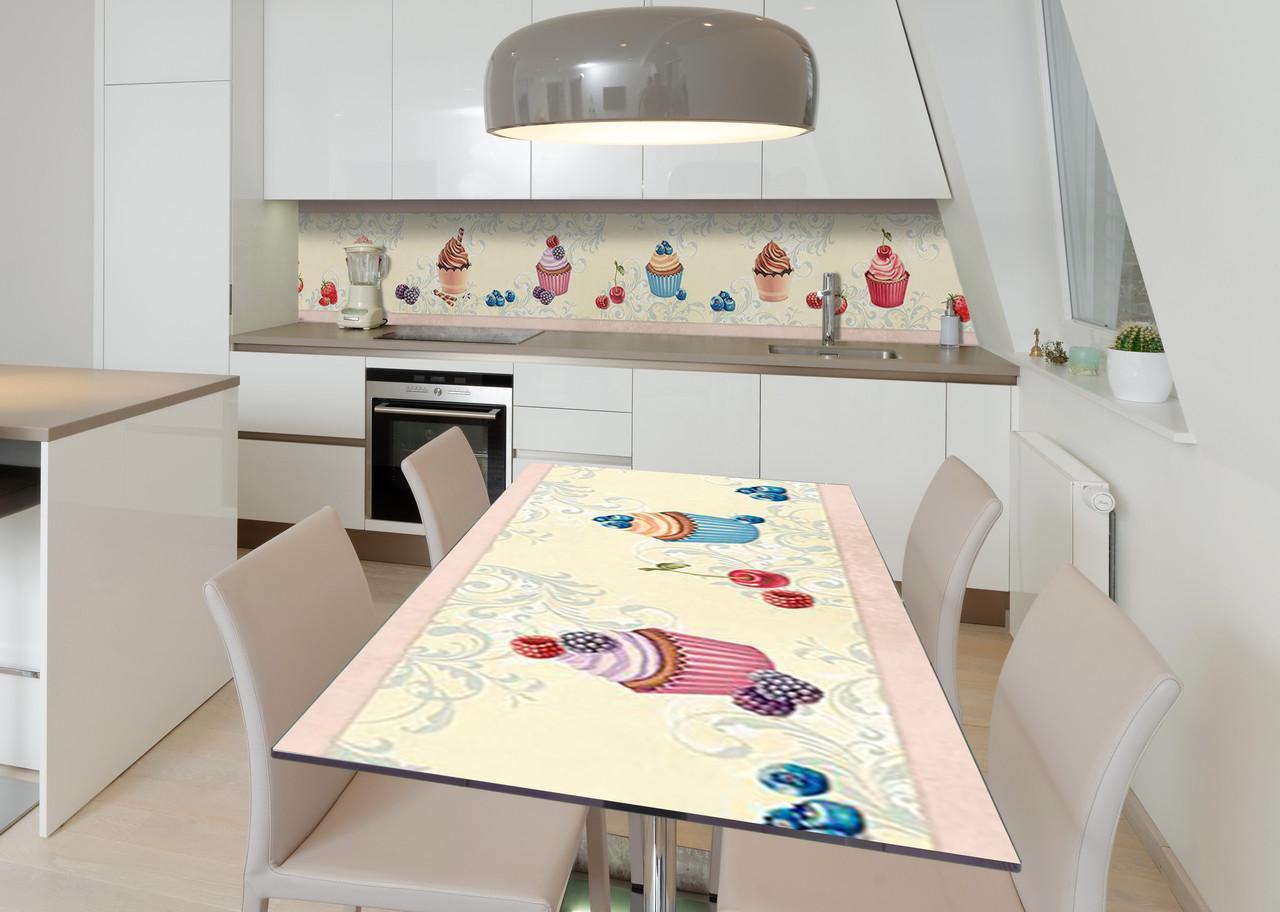 Наклейка 3Д вінілова на стіл Zatarga «Акварельні тістечка» 600х1200 мм для будинків, квартир, столів, кофеєнь,