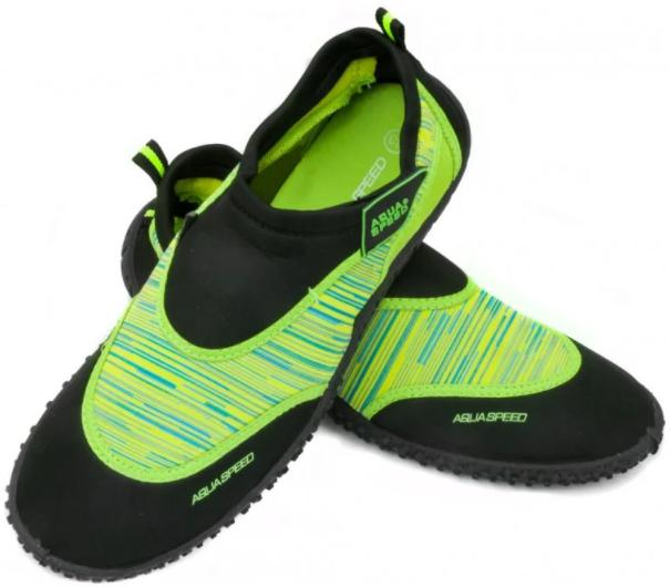 Детские аквашузы  Aqua Speed  (6567) Черно-зеленый 35