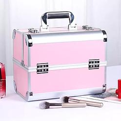 Бьюти кейс для косметики розовый, чемодан алюминиевый для визажиста, мастера маникюра