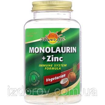 Nature's Life, Монолаурин и цинк, Monolaurin + Zinc, 90 вегетарианских капсул