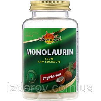 Nature's Life, Монолаурин, Monolaurin, 90 вегетарианских капсул
