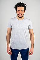 Мужская футболка из стрейч кулира светло-серая
