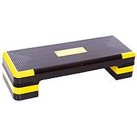 Степ-платформа для фитнеса и аэробики ZELART Для похудения 3 уровня высоты Пластик Черный-желтый (FI-1574)