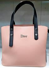 Женская молодежная пудровая сумка Dior из турецкой эко-кожи с отделами на магните по бокам 28*24 см