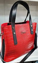 Женская красная под крокодила сумка Dior из турецкой эко-кожи с отделами на магните по бокам 28*24 см