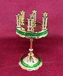 Підсвічник малий на 7 свічок золотий із зеленою облямівкою, висота 15см (Греція), фото 2