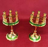 Підсвічник малий на 7 свічок золотий із зеленою облямівкою, висота 15см (Греція), фото 4