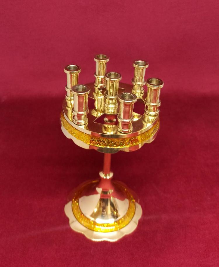 Підсвічник малий на 7 свічок золотий, висота 15см (Греція)
