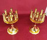 Підсвічник малий на 7 свічок золотий, висота 15см (Греція), фото 2