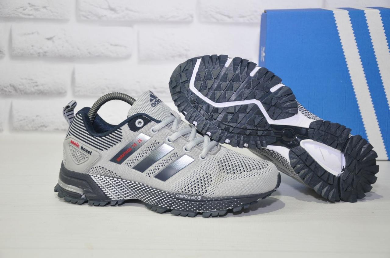 Кросівки сірі сітка в стилі Adidas Marathon унісекс