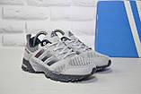 Кросівки сірі сітка в стилі Adidas Marathon унісекс, фото 3