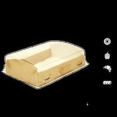 Упаковка для кондитерских изделий с прозрачным куполом крафт 185х140х55 мм
