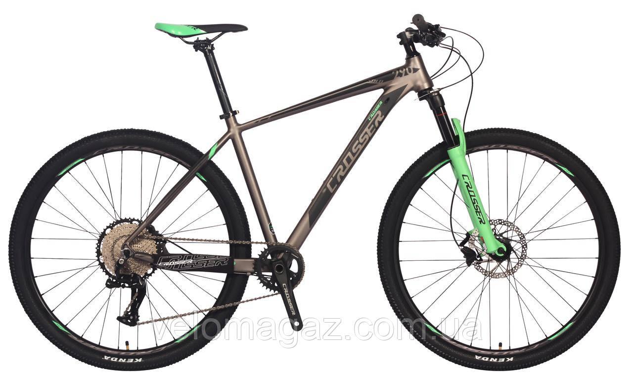 """Велосипед алюминиевый Crosser SOLO L-twoo+Shimano колеса 29"""", рама 19"""", гидравлика, 12 скоростей"""