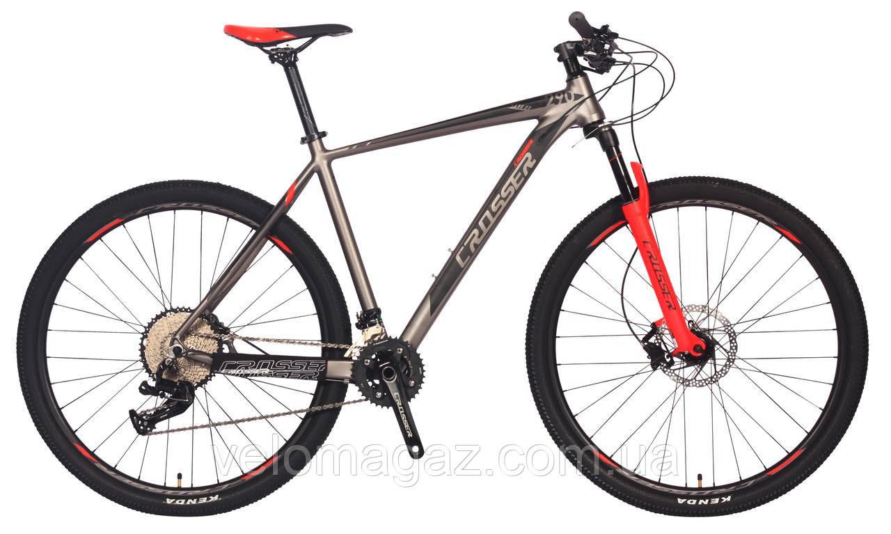 """Велосипед Crosser Grim*19 26"""" гірський алюмінієвий сірий"""