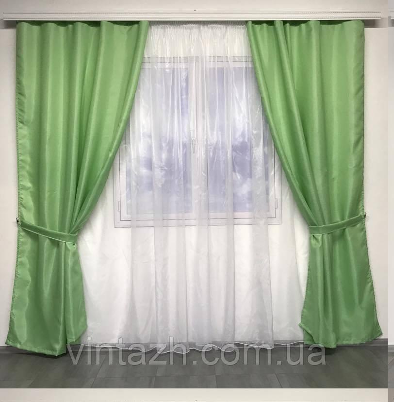 Красивый комплект шторы вместе с тюлем
