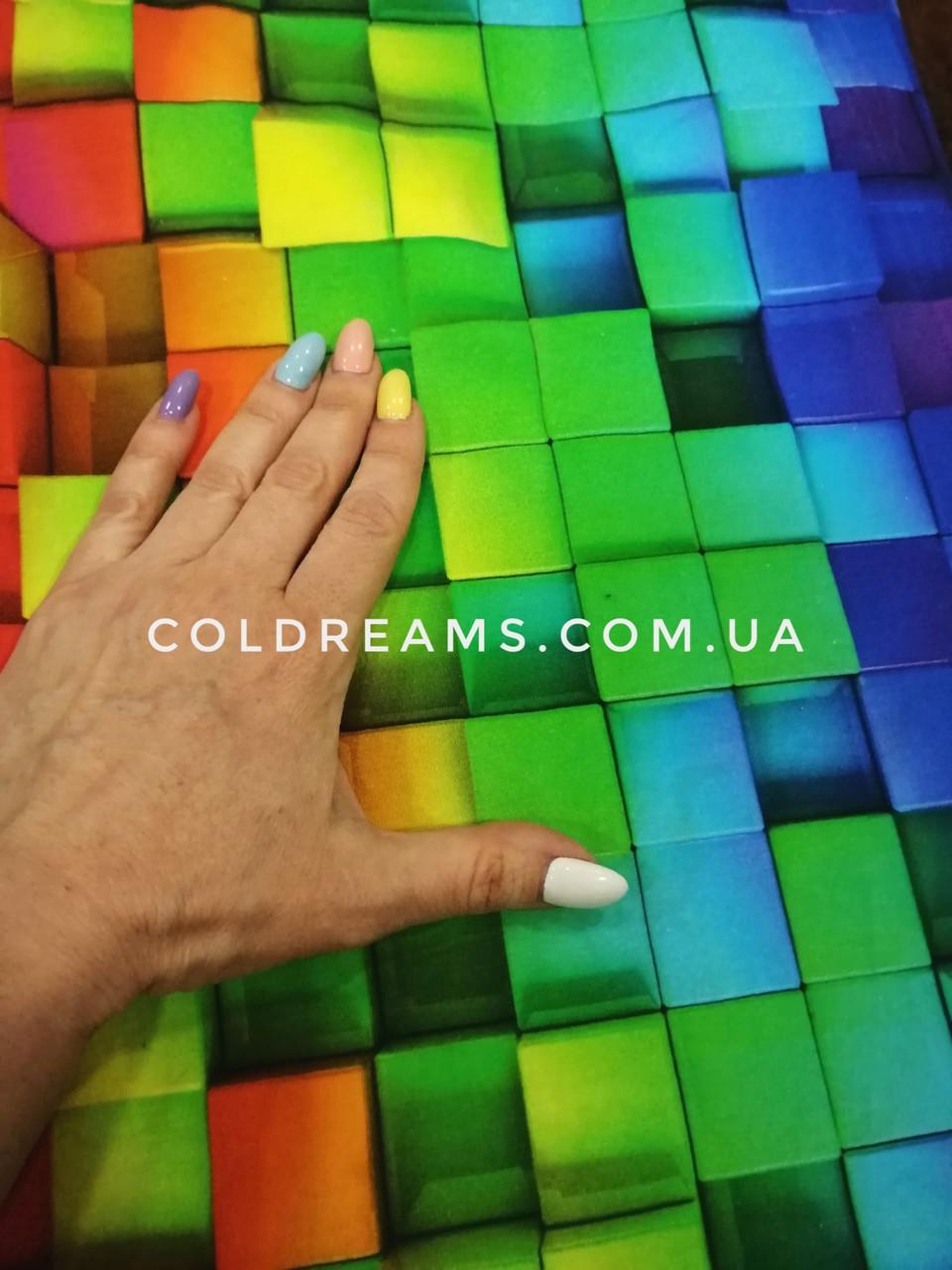 "Футер двунитка ""Цветные 3Д кубики"" - 185см. (диджитал) приход 20.05"