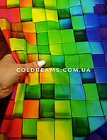 """Стрейч кулір принт """"Кольорові 3Д кубики"""" - 180см. (діджитал) прихід 15.07"""