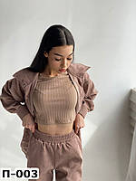 Женский стильный вельветовый костюм с брюками и рубашкой Разные цвета