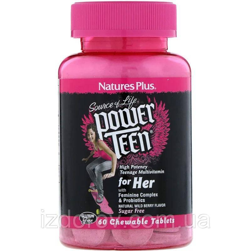 Nature's Plus, Power Teen, Мультивітаміни для підлітка дівчата, ягідний смак, без цукру, 60 таблеток. США
