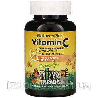 Nature's Plus, Animal Parade, Витамин C, вкус натурального апельсинового сока, 90 таблеток в форме животных