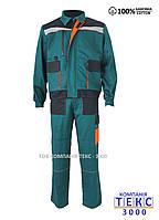 Костюм рабочий BIZON (куртка + брюки ) зеленый с черным ( 100% хлопок )