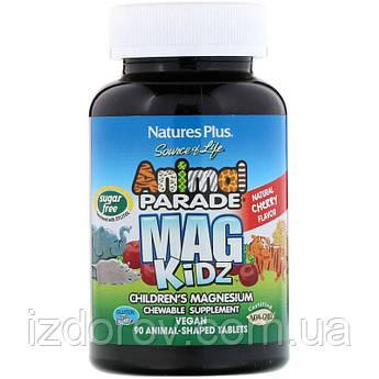 Nature's Plus, Animal Parade, MagKidz, Магний для детей, вишневый вкус, 90 таблеток в форме животных