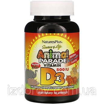 Nature's Plus, Source of Life, Animal Parade, Витамин D3 для детей, 500 МЕ, 90 жевательных таблеток