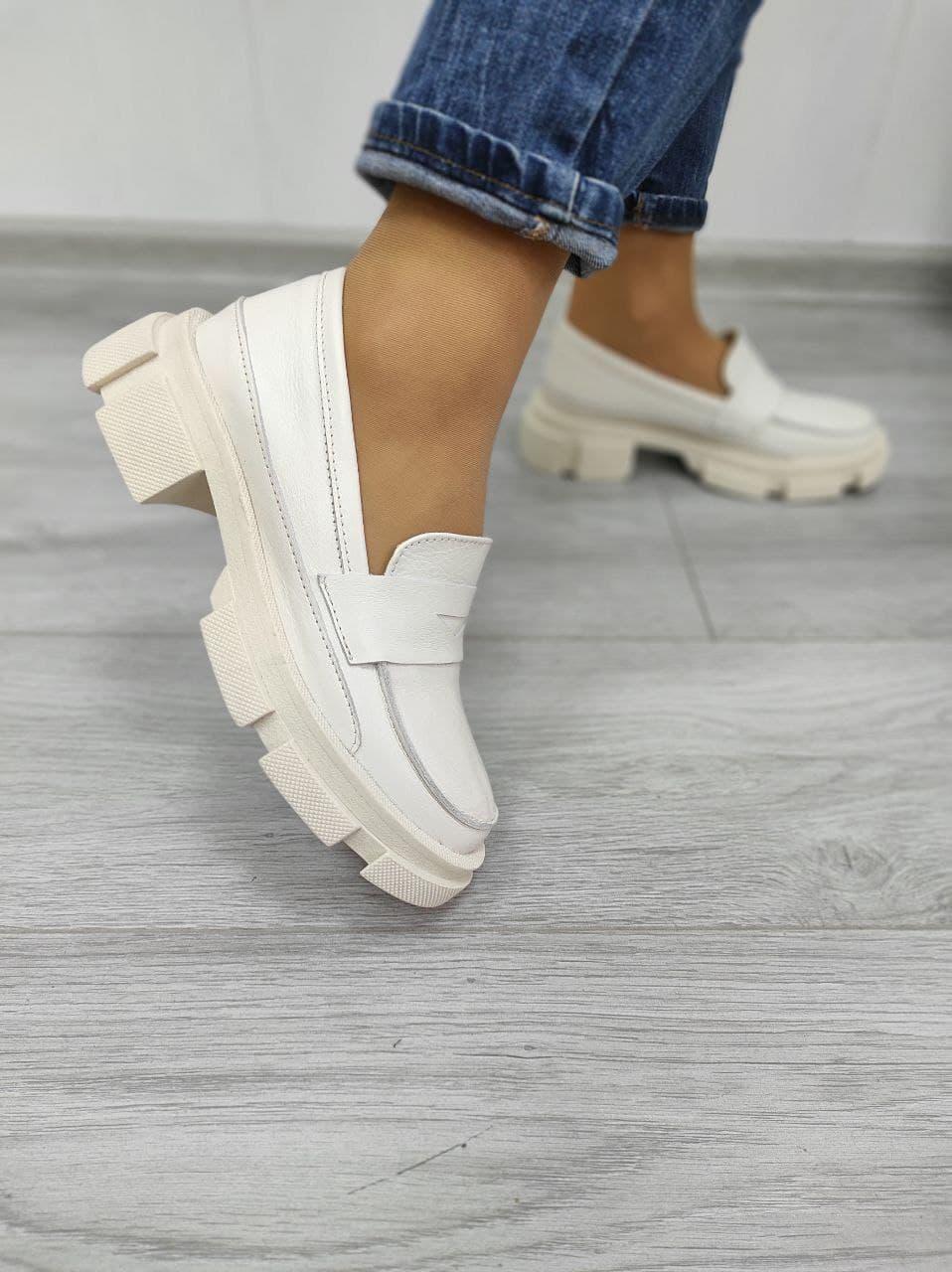Кожаные туфли на платформе женские