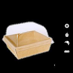 Контейнер купольный для десертов крафт 128х128х45 мм
