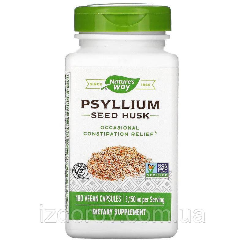 Nature's Way, Псиллиум в капсулах (лушпиння насіння подорожника), Psyllium Husk, 525 мг, 180 рослинних капсул