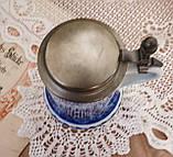 Пивной бокал, немецкая кружка для пива, керамика, оловянная крышка, Германия, 1981 год, Berlin Design, кобальт, фото 6