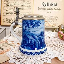 Пивной бокал, немецкая кружка для пива, керамика, оловянная крышка, Германия, 1981 год, Berlin Design, кобальт