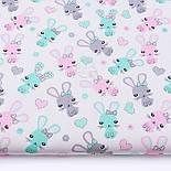 """Лоскут ткани """"Зайчики и сердечка"""" мятные и розовые на белом (№3326), размер 29*80 см, фото 2"""