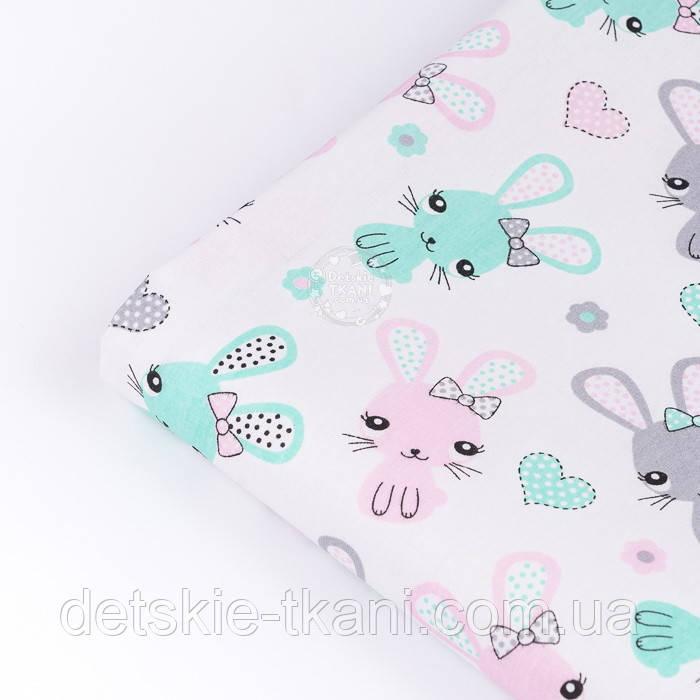 """Лоскут ткани """"Зайчики и сердечка"""" мятные и розовые на белом (№3326), размер 29*80 см"""