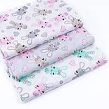 """Лоскут ткани """"Зайчики и сердечка"""" мятные и розовые на белом (№3326), размер 29*80 см, фото 7"""