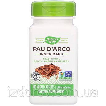 Nature's Way, Кора муравьиного дерева Pau D'Arco, Пау Д'Арко, 545 мг, 100 растительных капсул