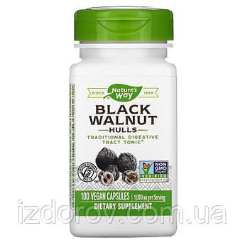 Nature's Way, Скорлупа черного ореха 500 мг, Black Walnut, Hulls, 100 веганских капсул