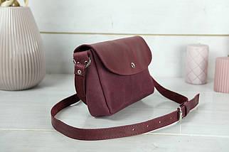 Сумка женская. Кожаная сумочка Мия, Винтажная кожа, цвет Бордо, оттиск №4, фото 2