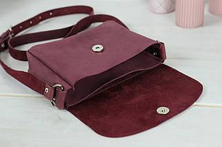 Сумка женская. Кожаная сумочка Мия, Винтажная кожа, цвет Бордо, оттиск №4, фото 3