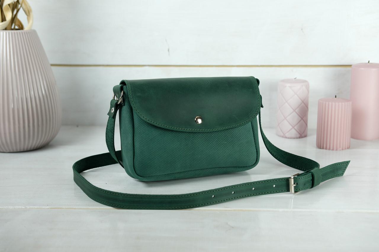 Сумка женская. Кожаная сумочка Мия, Винтажная кожа, цвет Зеленый, оттиск №4