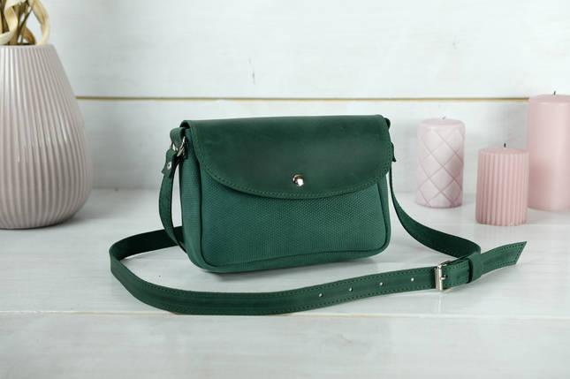 Сумка женская. Кожаная сумочка Мия, Винтажная кожа, цвет Зеленый, оттиск №4, фото 2