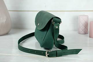 Сумка женская. Кожаная сумочка Мия, Винтажная кожа, цвет Зеленый, оттиск №4, фото 3