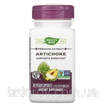 Nature's Way, Артишок для печінки, жовчного міхура, Artichoke Leaf Extract, 300 мг, 60 рослинних капсул. США